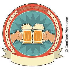 etichetta, birre, fondo, mani, bianco, uomo