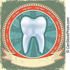etichetta, dente, carta, vecchio, fondo, set, texture., vendemmia