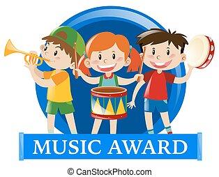etichetta, disegno, con, bambini, giocando musica