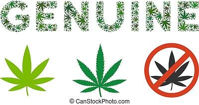 etichetta, genuino, marijuana, composizione