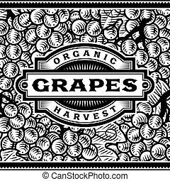 etichetta, nero, retro, uva, bianco, raccogliere