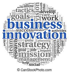 etichetta, parola, nuvola, affari, innovazione