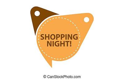 etichetta, shopping, isolato, sagoma, notte