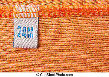 etichetta, su, arancia, stoffa
