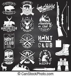 etichetta, tipografia, caccia, forest., stampa, fucile, cervo, club, cacciatore, stamp., verro, camicia, distintivo, chalkboard., vendemmia, montagne, concetto, disegno, orso, set, vector.