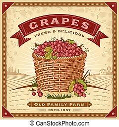 etichetta, uva, raccogliere, paesaggio, retro