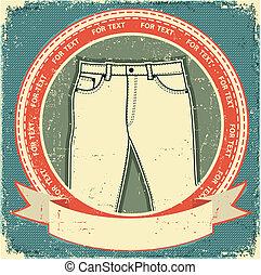 etichetta, vecchio, fondo, set, vettore, paper., vendemmia, jeans, vestiti
