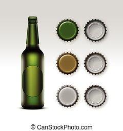 etichetta, vetro, birra, verde, bottiglia, trasparente