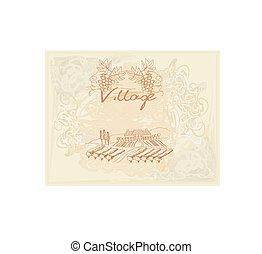 etichetta, vino, -, vigneto, mano, disegnato