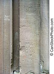 etichettato, muro pietra