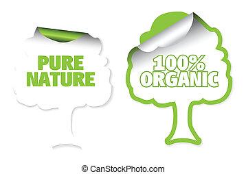 etichette, albero, set, organico