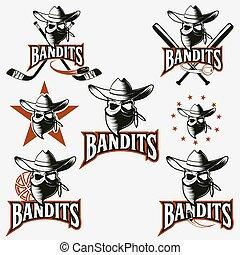 etichette, bandito, set, cranio, sport