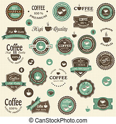 etichette, caffè, elementi, collezione