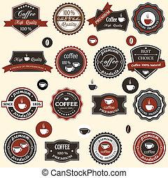etichette, caffè, elementi, stile, retro