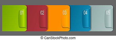etichette, carta, set, etichetta