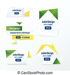 etichette, collezione, set, giallo, blu, verde
