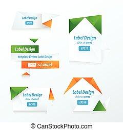 etichette, collezione, set, verde, blu, arancia