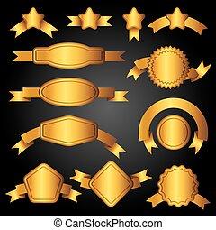 etichette, dorato, set, nastri, bandiere