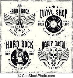 etichette, emblemi, vettore, musica, roccia, monocromatico, o