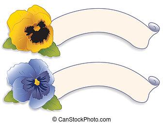 etichette, fiore blu, etichetta, viola del pensiero, oro