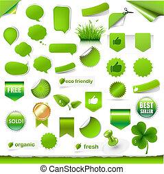 etichette, grande, set, verde