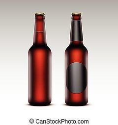etichette, marrone, birra, set, rosso, bottiglie, senza