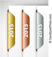 etichette, /, metalic, vettore, adesivi, 2013