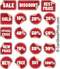 etichette, prezzo, set, duscount, rosso