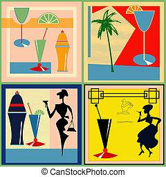 etichette, retro, cocktail