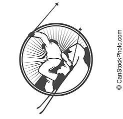 etichette, ricorso, logotipo, emblemi, sci, tesserati magnetici
