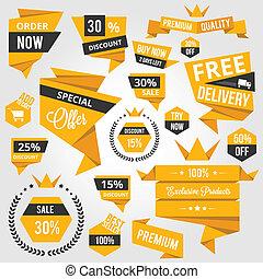 etichette, scontare, concetto, set, vendita