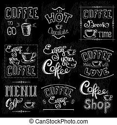 etichette, serie caffè, lavagna