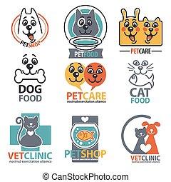 etichette, set, adesivi, animale