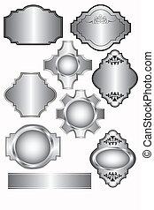 etichette, set, argento