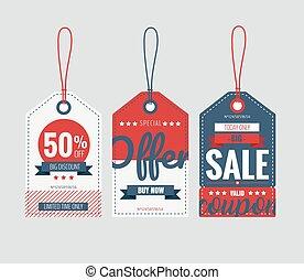 etichette, set, buono, prezzo, vendita, vettore