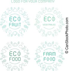 etichette, set, organico