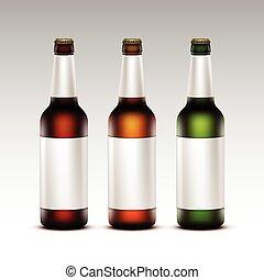 etichette, set, scuro, birra, bianco, bottiglie