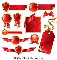 etichette, set, segni, vettore, golden-red
