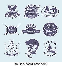 etichette, set, surfing