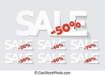 etichette, set, vettore, vendita, illustrazione