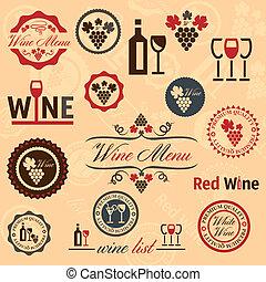 etichette, set, vino