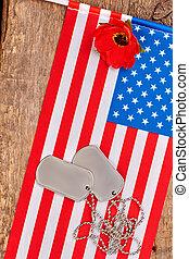 etichette, stati uniti, flag., cane, americano, papavero, rosso