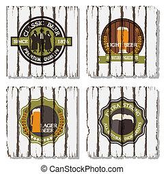 etichette, tesserati magnetici, fondo, legno, birra