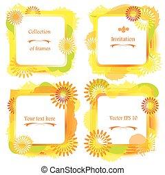 etichette, vacanza, quadrato, concept., acquarello, -, vernice, cornici, set, estate, schizzi, fiori, grunge, blotch., fiore giallo, 4