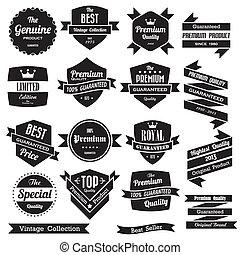 etichette, vendemmia, set, retro, tesserati magnetici