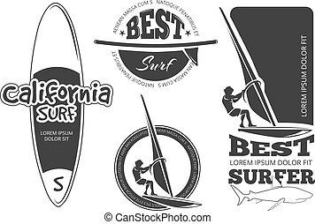 etichette, vendemmia, vettore, surfing