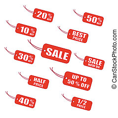 etichette, vendita, rosso