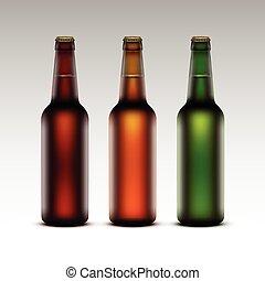 etichette, vetro, birra, set, bottiglie, senza