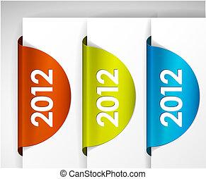 etichette, /, vettore, adesivi, rotondo, 2012