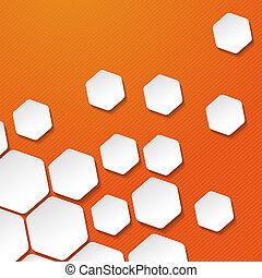 etichette, zebrato, carta, fondo, arancia, bianco, esagono